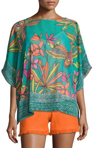Trina Turk Marlete Floral Silk Top, Cabana Teal
