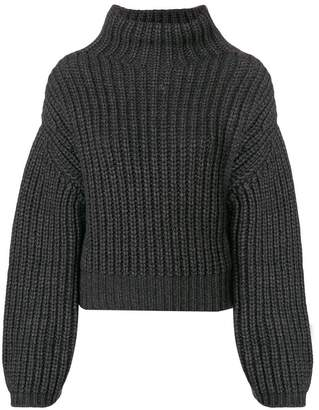Lanvin ribbed knit gathered sleeve sweater