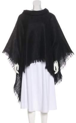 Adrienne Landau Mohair & Wool Fuzzy Poncho Black Mohair & Wool Fuzzy Poncho