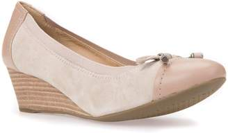 Geox Floralie Bow Leather Wedge Pumps