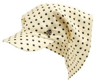 Maison Michel Dyna Polka Dot Silk Cap - Womens - Cream