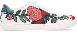 Gucci New Ace floral embroidered leather trainers
