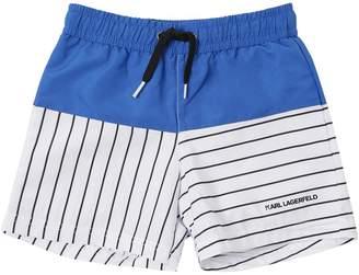 Karl Lagerfeld Striped Nylon Swim Shorts