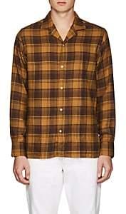 Officine Generale Men's Plaid Cotton Flannel Shirt - Brown