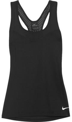 Nike - Pro Mesh-paneled Stretch-jersey Tank - Black $45 thestylecure.com