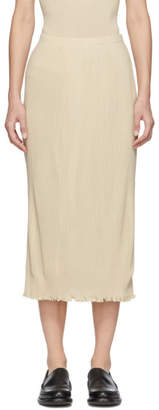 LAUREN MANOOGIAN White Accordion Knit Skirt