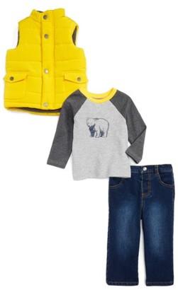 Infant Boy's Little Me Yellow Puff Vest, T-Shirt & Jeans Set $54 thestylecure.com