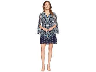 Vince Camuto Printed Chiffon V-Neck Dress with Tassels