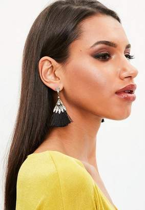 Missguided Black Crystal Tassel Earrings
