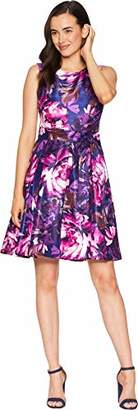 Nine West Women's Shantung Dress with Pleat Flare Skirt and Sash