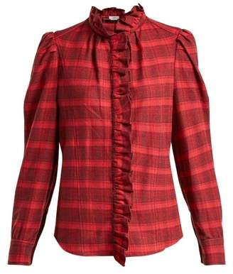 Etoile Isabel Marant Dules Ruffle Collar Cotton Shirt - Womens - Red