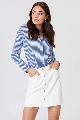NA-KD Na Kd Button Up Raw Hem Denim Skirt