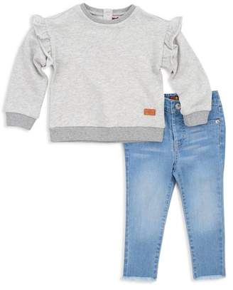 7 For All Mankind Girls' Ruffled Sweatshirt & Frayed Skinny Jeans Set - Little Kid