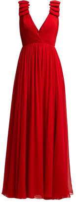 Elie Saab Pleated Silk Crepe Gown - Womens - Red