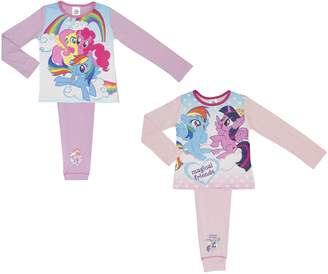 My Little Pony Cartoon Character Products 2 Pack Girls Pyjamas - 4-10 Years