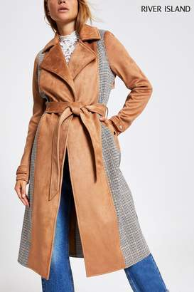 River Island Womens Camel Check Mix Trench Jacket - Brown
