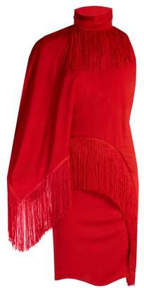 Givenchy Fringed High Neck Compact Jersey Dress - Womens - Red