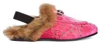 Gucci Toddler Princetown GG velvet slipper