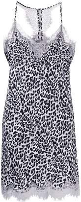 Gold Hawk leopard print slip mini dress