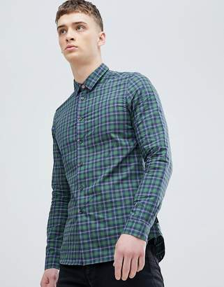 Paul Smith slim fit check shirt in green