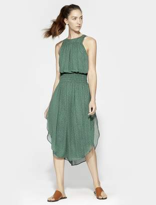 Halston SLEEVELESS ROUND NECK PRINTED RUCHED MAXI