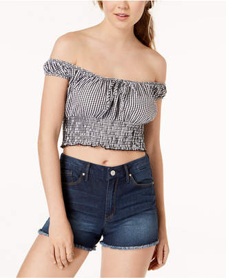 Polly & Esther Juniors' Off-The-Shoulder Smocked Crop Top
