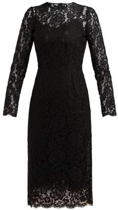 Dolce & Gabbana Floral And Eyelash Lace Midi Dress - Womens - Black