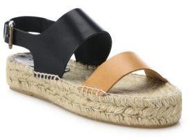 Soludos Two-Tone Leather Platform Espadrille Sandals $129 thestylecure.com