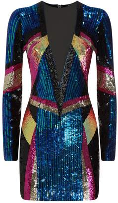 Balmain Multicolour Bolt Bodycon Dress