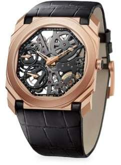 Bvlgari Octo Finissimo 18K Rose Gold Leather Strap Skeleton Watch
