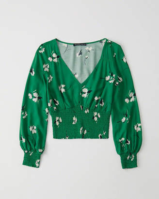 Abercrombie & Fitch Smocked-Waist Blouse