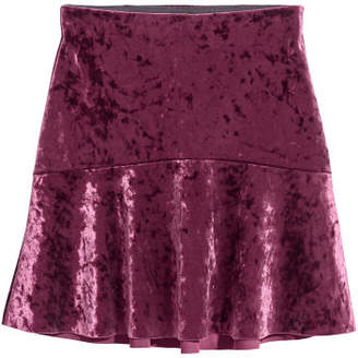 H&M Crushed-velvet Skirt - Red
