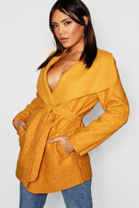 boohoo Belted Waterfall Faux Fur Teddy Coat