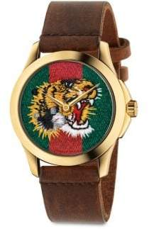 Gucci Le Marche Des Merveilles Tiger Yellow Goldtone PVD& Leather Strap Watch