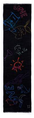 Paul Smith Doodles embroidered wool scarf