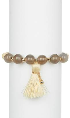 Panacea Wood & Quartz Beaded Tassel Stretch Bracelet