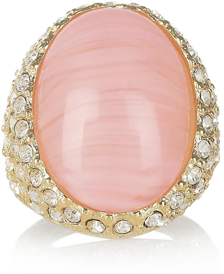 Kenneth Jay Lane 22-karat gold-plated crystal ring