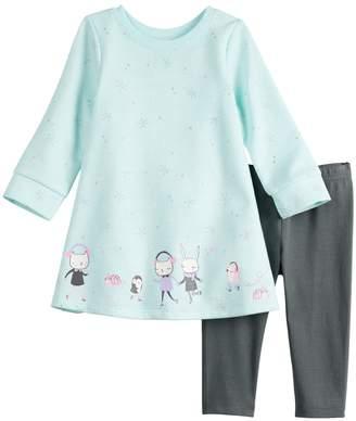 Baby Girl Jumping Beans Glittery Print French Terry Swing Dress & Leggings Set