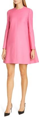 Valentino Cape Back Long Sleeve Crepe Dress