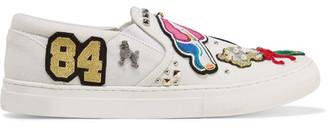 Marc Jacobs - Mercer Embellished Appliquéd Canvas Slip-on Sneakers - White $350 thestylecure.com