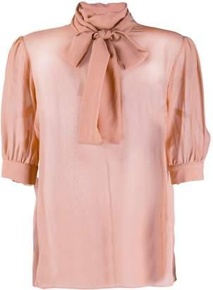 Blumarine pussybow short sleeve blouse
