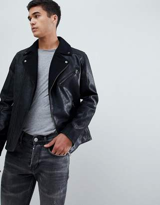 Selected Leather Biker Jacket With Wool Lapel Detail
