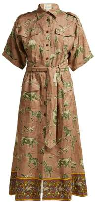 Chufy - Kinyei Safari Print Linen Shirtdress - Womens - Brown Print