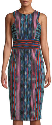 Maggy London Jewel-Neck Striped Midi Sheath Dress