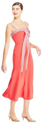 Lela Rose Fluid Crepe Tie Front Dress