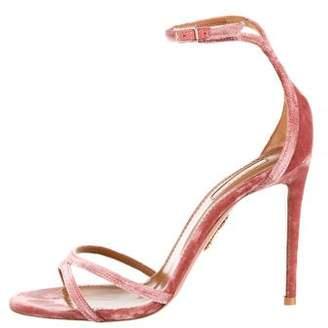 Aquazzura Velvet Aquazurra Ankle Strap Sandals