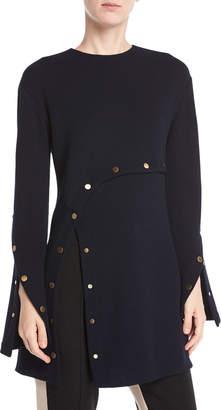 Derek Lam Long-Sleeve Wool Crepe Jersey Top w/ Snap Detail