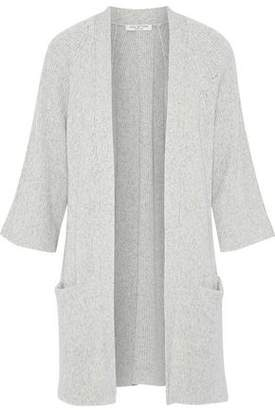 Halston Melange Cotton And Cashmere-blend Cardigan