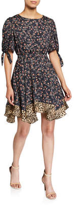 Rebecca Taylor Lia Floral Short-Sleeve Dress