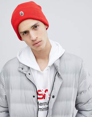Globe Knitted Beanie with Patch Front Detail in Red